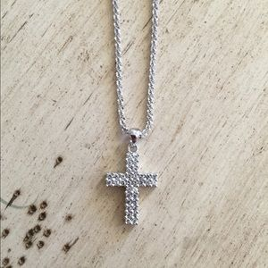 14k White Gold Cross & 14k White Gold Chain